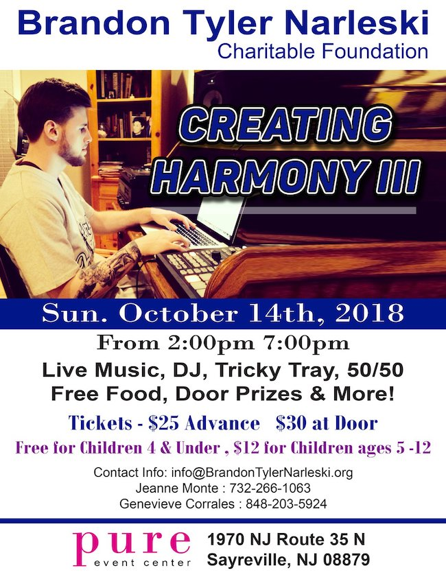 Creating Harmony lll, Foundation, The Brandon Tyler Narleski Charitable Foundation, 501c3 , Scholarship