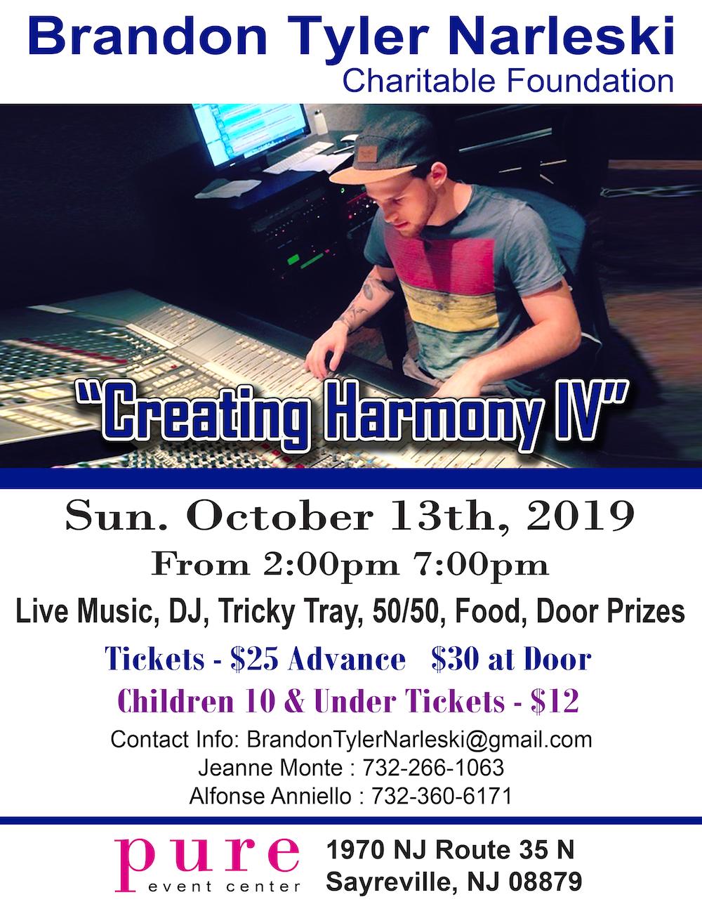 Creating Harmony , Fundraiser , nonprofit , 501c3, The Brandon Tyler Narleski Charitable Foundation